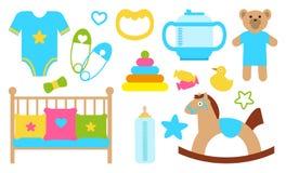 Oggetti e oggetti per l'illustrazione di vettore del manifesto dei bambini Immagine Stock