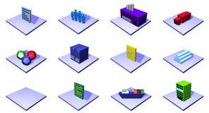 Oggetti e symb dello schema della catena di rifornimento di distribuzione Immagine Stock
