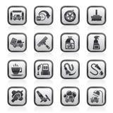 Oggetti ed icone in bianco e nero dell'autolavaggio Fotografie Stock Libere da Diritti