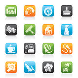 Oggetti ed icone dell'autolavaggio Fotografia Stock Libera da Diritti