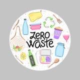 Oggetti ed iscrizione residui zero disegnati a mano di vettore nella forma rotonda lifestyle Salvo il pianeta illustrazione vettoriale