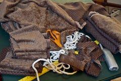 Oggetti essenziali e di cuciti di Upholstry fotografie stock
