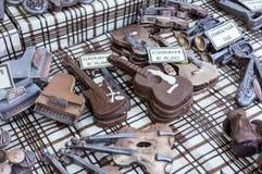 Oggetti fatti a mano di Chocolade in un mercato del chocolade Alimento artistico immagini stock libere da diritti