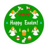 Oggetti felici di Pasqua su verde Fotografia Stock Libera da Diritti