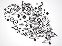 Oggetti floreali musicali astratti Immagine Stock