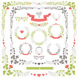Oggetti floreali stabiliti di nozze retro Modello di disegno di vettore Fotografie Stock