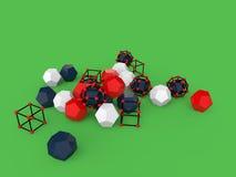 oggetti geometrici astratti 3d su fondo verde illustrazione di stock