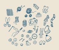 Oggetti handmade di tiraggio della mano illustrazione vettoriale