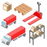 Oggetti, icone, automobili ed attrezzature isometrici logistici del carico Illustrazione EPS10 di vettore Fotografia Stock Libera da Diritti