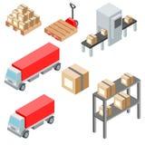 Oggetti, icone, automobili ed attrezzature isometrici logistici del carico Illustrazione EPS10 di vettore Fotografia Stock