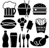 Oggetti neri stabiliti degli alimenti a rapida preparazione Fotografia Stock Libera da Diritti