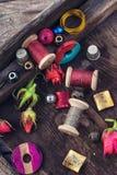 Oggetti per cucito Fotografia Stock