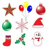 9 oggetti per il Natale ed il vettore del buon anno illustrazione di stock