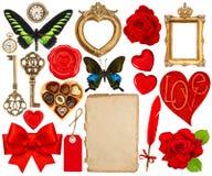 Oggetti per l'album per ritagli di giorno di biglietti di S. Valentino Pagina di carta, cuori rossi, pH Fotografia Stock