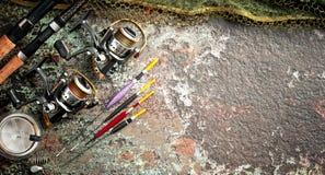 Oggetti per le bobine delle canne da pesca Fotografia Stock