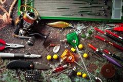 Oggetti per le bobine delle canne da pesca Immagine Stock Libera da Diritti