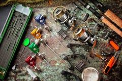 Oggetti per le bobine delle canne da pesca Fotografie Stock Libere da Diritti