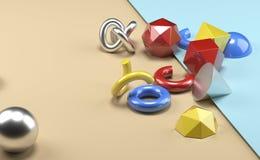 Oggetti primitivi sembranti realistici geometrici Immagine Stock