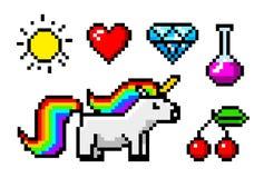 Oggetti pungenti di arte 8 del pixel Unicorno e trofeo del carattere Retro beni del gioco Insieme delle icone video gallerie del  illustrazione vettoriale