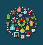 Oggetti variopinti ed elementi di Natale Fotografia Stock Libera da Diritti