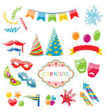 Oggetti variopinti stabiliti del carnevale, partito, compleanno Illustrazione di Stock