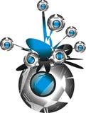 Oggetto argenteo & blu astratto Fotografia Stock