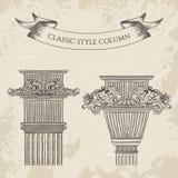 Oggetto d'antiquariato ed insieme classico barrocco del vettore colonna di stile Elementi architettonici d'annata di progettazion illustrazione vettoriale