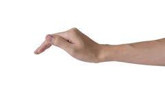 Oggetto della copertura della mano dell'uomo sulla cima come una protezione o un'assicurazione isolata con fondo bianco fotografie stock