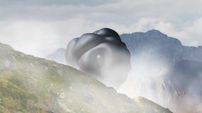 Oggetto di galleggiamento misterioso, UFO che gira sopra il paesaggio della montagna 3d rappresentazione, animazione senza cucitu illustrazione di stock