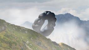 Oggetto di galleggiamento misterioso, UFO che sorvola il paesaggio della montagna 3d rappresentazione, animazione senza cuciture  video d archivio