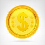 Oggetto dorato di valuta della moneta del dollaro isolato Fotografia Stock Libera da Diritti