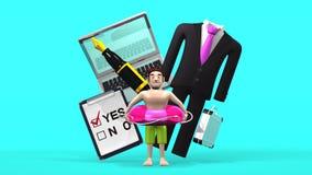 Oggetto ed uomo di affari che è nella vacanza sul blu illustrazione di stock