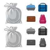Oggetto isolato del logo del bagaglio e della valigia Insieme dell'icona di vettore di viaggio e della valigia per le azione illustrazione di stock