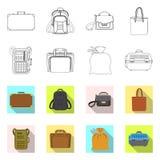 Oggetto isolato del logo del bagaglio e della valigia Raccolta dell'illustrazione di riserva di vettore di viaggio e della valigi illustrazione di stock