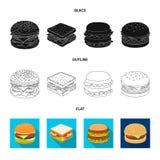 Oggetto isolato del logo dell'involucro e del panino Metta dell'icona di vettore del pranzo e del panino per le azione illustrazione di stock