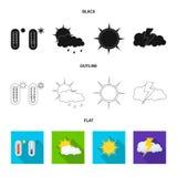 Oggetto isolato del logo di clima e del tempo Insieme del simbolo di riserva della nuvola e del tempo per il web illustrazione vettoriale