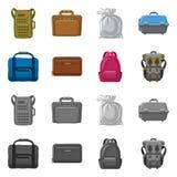 Oggetto isolato del segno del bagaglio e della valigia Insieme del simbolo di riserva di viaggio e della valigia per il web illustrazione di stock