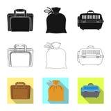 Oggetto isolato del segno del bagaglio e della valigia Raccolta dell'icona di vettore di viaggio e della valigia per le azione illustrazione di stock
