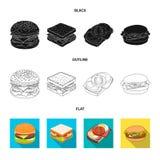Oggetto isolato del segno dell'involucro e del panino Metta del simbolo di riserva del pranzo e del panino per il web illustrazione di stock