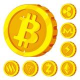 Oggetto isolato del segno della moneta e di cryptocurrency Insieme del cryptocurrency ed icona cripto di vettore per le azione royalty illustrazione gratis