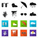 Oggetto isolato del segno di clima e del tempo Raccolta del simbolo di riserva della nuvola e del tempo per il web illustrazione vettoriale