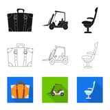 Oggetto isolato del simbolo dell'aeroplano e dell'aeroporto Raccolta dell'illustrazione di riserva di vettore dell'aereo e dell'a illustrazione vettoriale