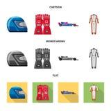 Oggetto isolato dell'automobile e del segno di raduno Insieme del simbolo di riserva della corsa e dell'automobile per il web illustrazione vettoriale