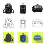 Oggetto isolato dell'icona del bagaglio e della valigia Raccolta del simbolo di riserva di viaggio e della valigia per il web illustrazione vettoriale
