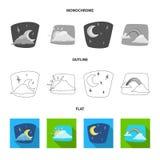 Oggetto isolato dell'icona di clima e del tempo Insieme del simbolo di riserva della nuvola e del tempo per il web royalty illustrazione gratis