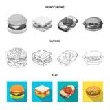 Oggetto isolato dell'icona dell'involucro e del panino Raccolta del simbolo di riserva del pranzo e del panino per il web illustrazione vettoriale