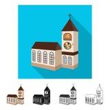 Oggetto isolato della chiesa e del simbolo cattolico Raccolta della chiesa e del simbolo di riserva di religione per il web royalty illustrazione gratis