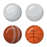 Oggetto isolato dello sport e dell'icona della palla Raccolta dello sport e dell'illustrazione di riserva atletica di vettore royalty illustrazione gratis