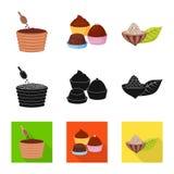 Oggetto isolato di alimento e del segno squisito Raccolta di alimento e dell'illustrazione di riserva marrone di vettore illustrazione vettoriale