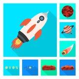 Oggetto isolato di scienza e del simbolo cosmico Metta del simbolo di riserva di scienza e tecnologia per il web illustrazione di stock